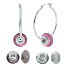 """Hand -Blown Murano Beads with Platinum on Sterling Silver Hoop Earrings ( 1.9"""" Diameter) Amazon Curated Collection. $40.79. Made in Italy. Each bead is approximately 14 X 10mm. Save 67% Off!"""