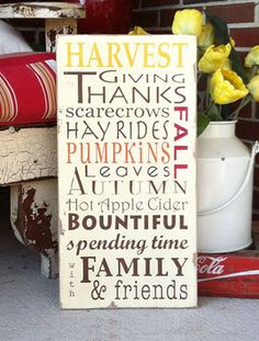 autumn harvest, sign, - Barn Owl Primitives, vintage wood signs, typography decor,