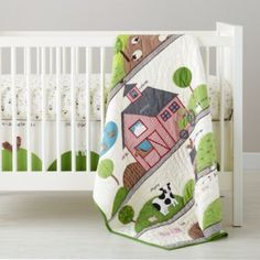 baby boy nursery ideas. With a Moo Moo Here Crib Bedding  | The Land of Nod #featheryournest