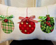 Christmas Pillow Burlap Christmas Pillow Fabric Christmas Ornaments Pillow Jingle Bell Christmas Pillow Holiday Xmas gift by sherisewsweet on Etsy Fabric Christmas Ornaments, Christmas Bells, Christmas Diy, Christmas Trees, Diy Christmas Pillows, Rustic Christmas, Burlap Ornaments, Christmas Sewing Gifts, Fabric Christmas Decorations