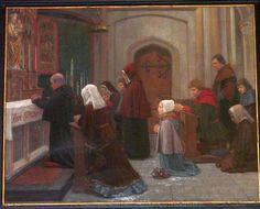Lidwina van Schiedam.  1890, Dunselman, schilderij, Nederland, Schiedam, Lidwinabasiliek. Lidwina als vroom meisje in de kerk.