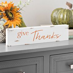 White and Orange Give Thanks Word Block