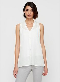 Eileen Fisher V-Neck Mandarin Collar Sleeveless Organic Cotton Shirt