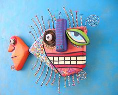 Picasso's Goldfish Original Found Object Wall Sculpture