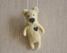 Felted Animal Needle Felt Bear  Felted Ornament  Felted by healoom