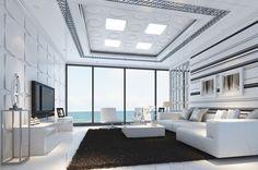 Sea, white, modern, stylish, minimalist style