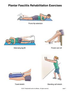 Plantar Fasciitis Exercises    You may begin strengthening the muscles of your hip and stretching the muscles of your foot right away.