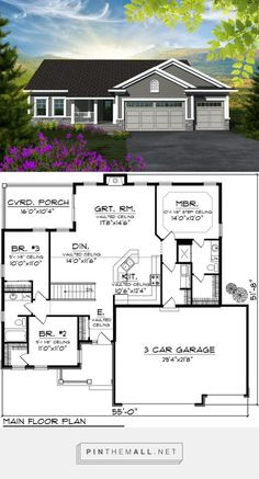 Craftsman Style House Plan - 3 Beds 2.00 Baths 1529 Sq/Ft Plan #48 on