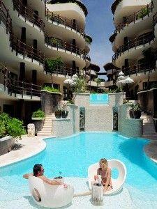 The pool at El Taj; such a beautiful lively oceanfront spot! www.playabeachgetaways.com
