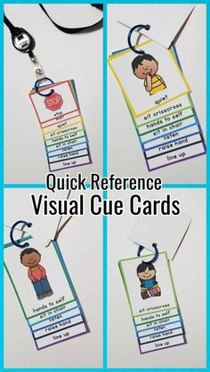 Quick Reference Visual Cue Cards for Lanyard Classroom Behavior, Autism Classroom, Preschool Classroom, Preschool Behavior, Preschool Rules, Preschool Schedule, Behavior Management, Classroom Management, Absence Management