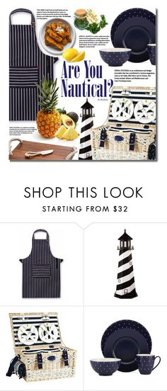 """""""Are You Nautical?"""" by beebeely-look ❤ liked on Polyvore featuring interior, interiors, interior design, home, home decor, interior decorating, DutchCrafters, Kate Spade, Michael Aram and kitchen"""