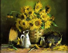 sunflowers in basket.....Serguei Toutounov....