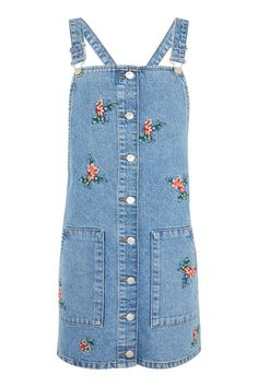 Make a feminine statement with our stylish mid stone denim pinafore dress with all over floral embroidery. Wear our pretty design for day or night. Embroidered Denim Dress, Floral Embroidery Dress, Denim Pinafore, Pinafore Dress, Blue Denim Dress, Denim Dresses, Pinny Dress, Blue Colour Dress, Color