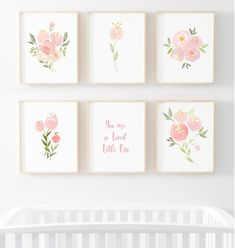 Girl Nursery Decor Nursery Wall Art Watercolor Nursery Art Nursery Decor Floral Nursery Decor W Baby Girl Nursery Decor, Floral Nursery, Nursery Design, Baby Decor, Nursery Ideas, Rose Nursery, Nursery Themes, Room Ideas, Baby Prints