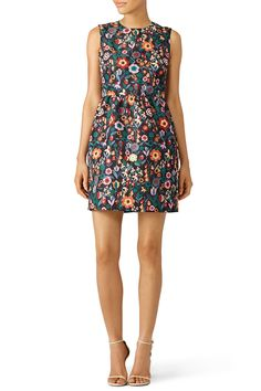 Black and multicolored floral cocktail dress. Perfect for a late summer or early fall engagement party! Formal Cocktail Dress, Formal Evening Dresses, Shower Outfits, Shower Dresses, Party Dresses, Tulip Dress, Fit Flare Dress, Nordstrom Dresses, Ladies Dress Design