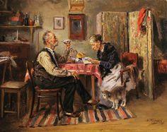 Morning tea, 1891 Vladimir Makovsky