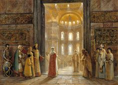 Igor Mashkov-Holy Equal-to-the-Apostles Princess St Olga Enters the Church of Holy Wisdom in Constantinople