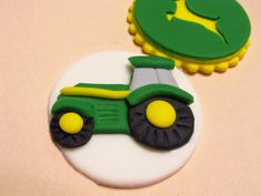 Tractor Cupcake Toppers  Fondant Yellow and Green by TWOSWEETCAKES