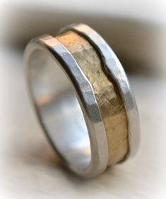 mens rustic fine silver and brass ring - handmade hammered artisan designed wedding or engagement band - customized