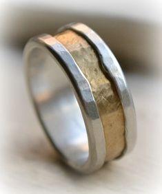 Custom unisex wedding band - unisex fine silver and 14k yellow gold ring - handmade artisan designed wedding or engagement band - customized