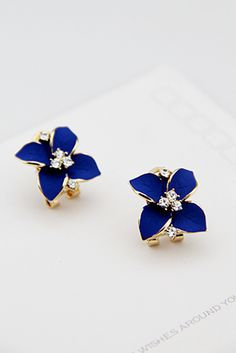 retro diamond earrings - http://zzkko.com/n119155-outh-Korea-imported-elegant-navy-blue-matte-surface-camellia-flowers-retro-diamond-earrings-earrings-ear-buckle-accessories-women.html $4.65