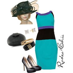 Easter Sunday by rodeo-chic on Polyvore. Color blocking, Color block dress, church hat, track, races, Kentucky Derby, Belmonte