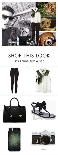 """""""Zoo With Shawn"""" by abbie-healey ❤ liked on Polyvore featuring American Apparel, Elle Sasson, Michael Kors, Kate Spade, Evian, CellPowerCases, women's clothing, women, female and woman"""