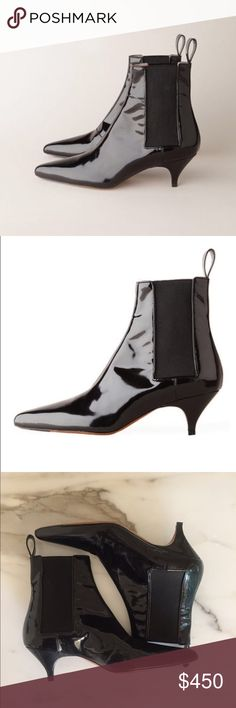 """Rochas Patent Leather Chelsea Boots Never worn! ROCHAS Pointed Kitten Heel Chelsea Boots!  Pull on Patent leather ankle boots with pointed toe, elastic gussets at sides and pull tabs at back. 2"""" kitten heels. Leather soles and lining. Made in Italy. Never worn but one sole has marks as seen in photo. Gorgeous boots and very chic! Rochas Shoes Ankle Boots & Booties"""