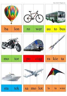 Learn Polish, Polish Language, Montessori Classroom, Games For Kids, Grammar, Vocabulary, Transportation, Preschool, Teaching