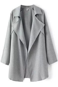 LUCLUC Gray Turn Down Collar Ruffle Trench Coat
