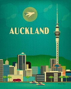 Auckland, New Zealand Skyline - 8 x 10 Vertical Original Contemporary Travel Art for framing and gifts. style E8-O-AUC