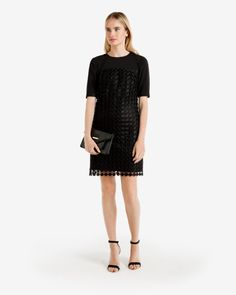 Geometric lace shift dress - Black | Dresses | Ted Baker