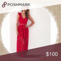 Lace Maxi Dress Red 壟 Dresses Maxi