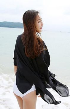 Chiffon cover-up for beach or boardwalk. Great summer look.  Color = Black.