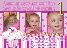 Lil Cupcake Invite Cupcake Invitation 1st Birthday Party Girl Cupcakes Decor