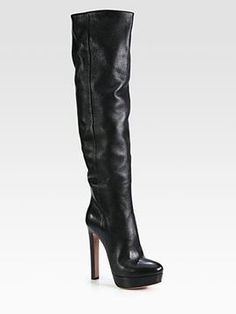 shopstyle.com: Prada Leather Over-The-Knee Platform Boots Awesome
