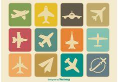 Vintage Airplane Icon Set