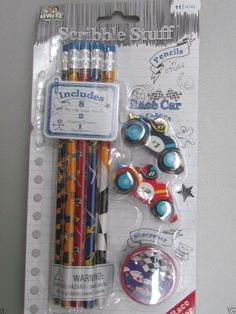 8 Pencils 2 Erasers 1 sharpener  Back to school  Race Car Nascar indy 500 NEW #Mega