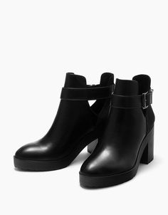Mid heel cut out platform ankle boots from Bershka.