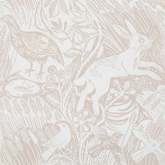 Mark Hearld Harvest Hare wallpaper – St. Jude's Fabrics - nursery wallpaper?