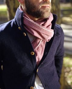 \\ white oxford shirt, navy cardigan & red chambray scarf by The Hill-Side