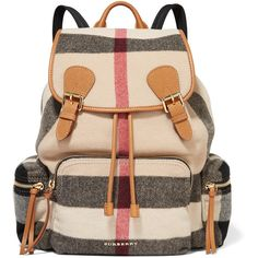 Burberry Prorsum Medium leather-trimmed checked felt backpack ($1,820) ❤ liked on Polyvore featuring bags, backpacks, grey, gray backpack, rucksack bag, burberry bags, multi color backpack and grey backpack