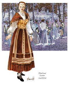 Jamtland Sunne Lady | Nordic Folklore Folk Costume, Costumes, Norwegian Knitting, Lappland, Infused Water Bottle, Running Belt, Free Day, Funny Socks, Fitness Gifts