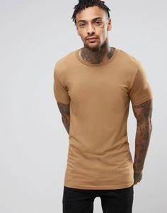 ASOS Longline Muscle T-Shirt In Brown - Brown