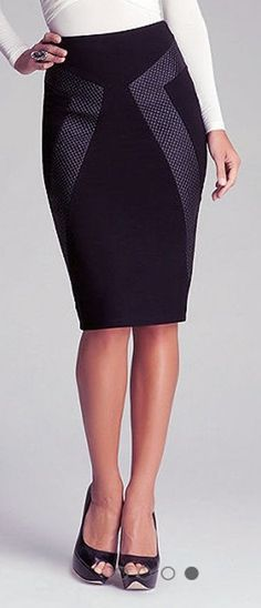 I love this pencil skirt - Could be a great staple piece for my wardrobe. I like that it's formal and would go with everything but as a little something extra as opposed to just a plain black pencil skirt Office Fashion, Work Fashion, Fashion Design, Fashion Trends, Fashion Outfits, Pencil Skirt Outfits, Pencil Skirts, Work Attire, Dress Skirt