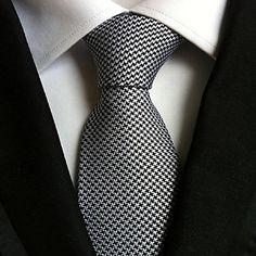 Men Wedding Cocktail Necktie At Work White Black Colors Tie – USD $ 4.49