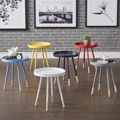 Marcella Paint-dipped Round Spindle Tray-top Side Table by MID-CENTURY LIVING | Overstock.com Shopping - The Best Deals on Coffee, Sofa & End Tables