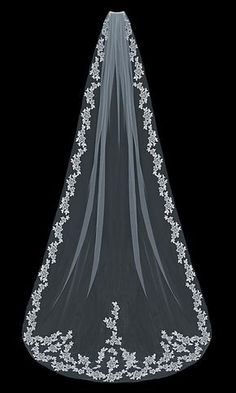 Wedding Veil with Lace Flowers Cathedral or Fingertip