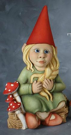 Female Gnomes Statue | Lovely Unfinished Ceramic Girl Sitting Garden Gnome Statue [Twinkle]