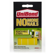 Unibond No More Nails Strips Removable Interior and Exterior x 10